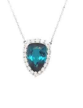 4.36ct tourmaline 0.54ctw diamond pendant 18k white gold