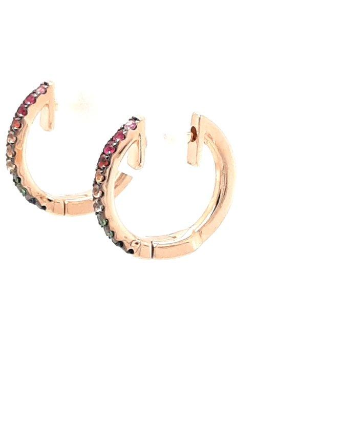 0.10ctw sapphire ruby garnet huggie hoops 14k yellow gold