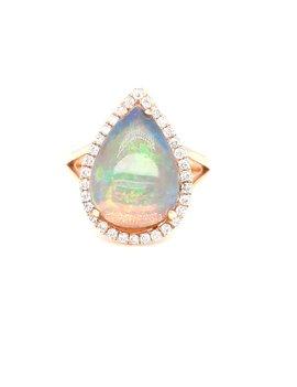 3.58ct opal 0.34ctw diamond ring 14k yellow gold