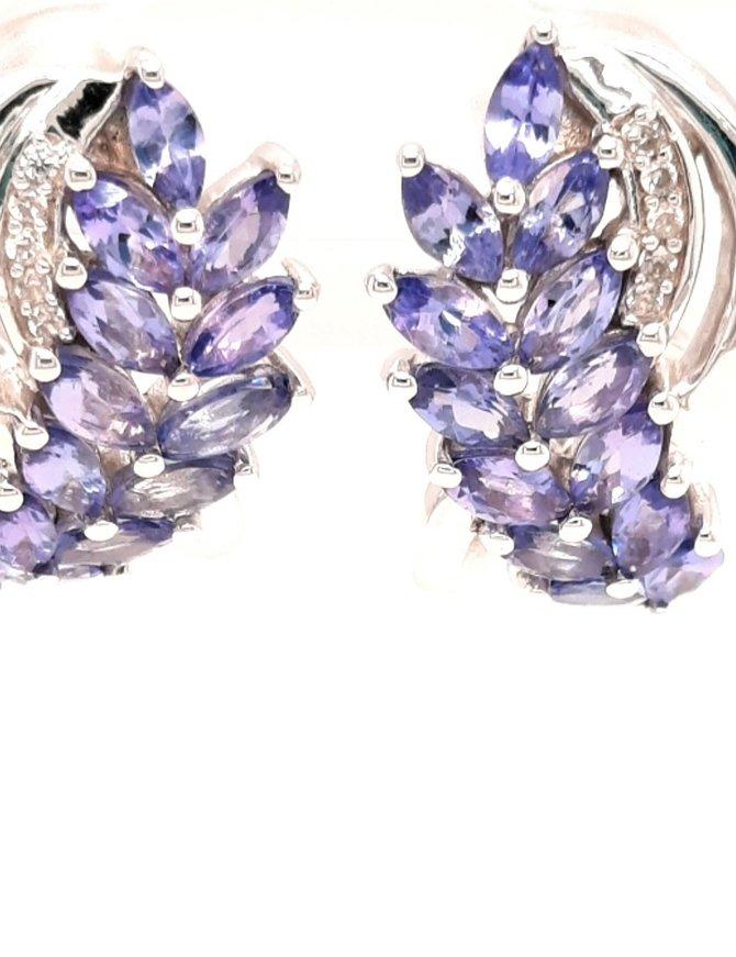 Tanzanite (2.9 ctw) & white zircon earrings, sterling silver
