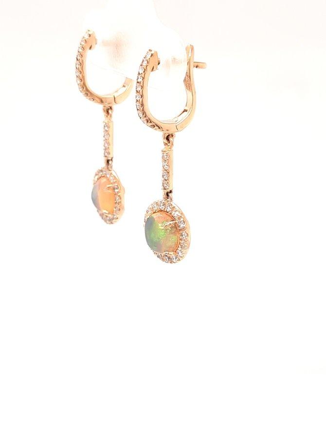 1.70ctw opal 0.60ctw diamond dangle earrings 14k yellow gold