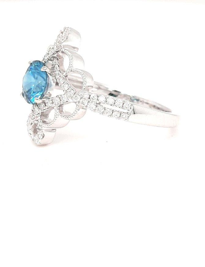 Blue Zircon (1.25ct) & diamond (0.30 ctw) ring, 14k white gold