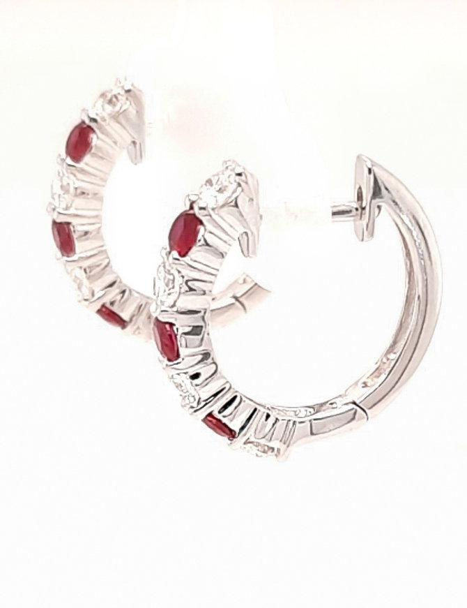 0.45ctw ruby 0.49ctw diamond huggie hoop earrings 14k white gold