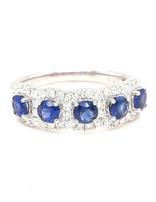 0.81ctw sapphire 0.47ctw diamond 5 stone band ring 14k white gold