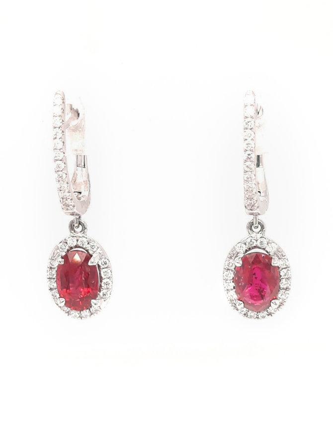 1.18ctw ruby 0.21ctw diamond dangle earrings 14k white gold