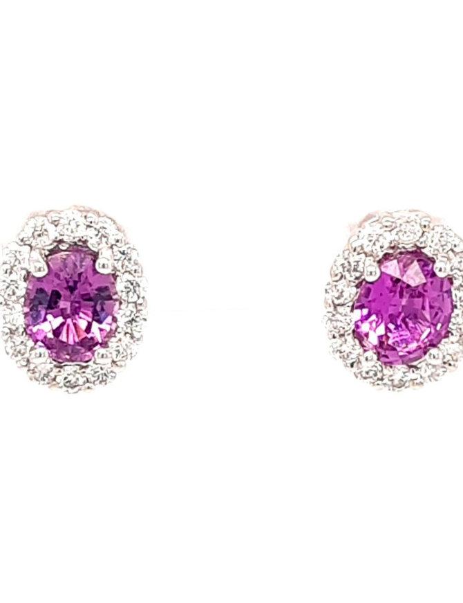 1.44ctw pink sapphire 0.45ctw diamond halo stud earrings 14k white gold