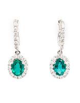 1.38ctw emerald 0.70ctw diamond dangle earrings 14k white gold