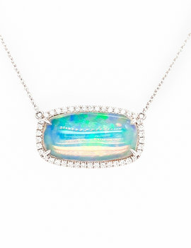 5.35ct opal 0.29 diamond east /west set necklace 14k white gold