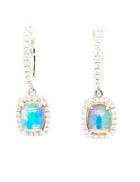 2.20ctw opal 0.47ctw diamond cushion halo earrings 14k white gold