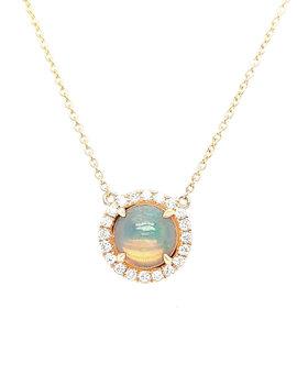 1.01 Opal 0.20ctw diamond round halo necklace 14k yellow gold