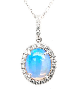 1.61ct opal 0.34ctw diamond halo pendant 14k white gold