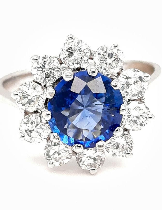 1.65ct sapphire 0.90ctw diamond halo ring 14k white gold