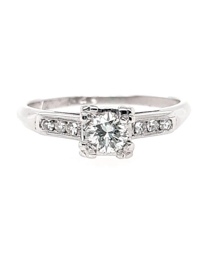 Estate diamond (1/3 ct center, 1/2ctw) ring, 14k white gold