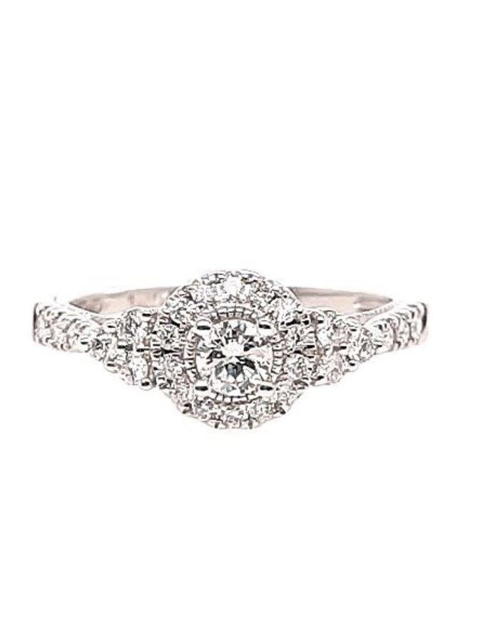 Diamond vintage style halo ring, 14k white gold