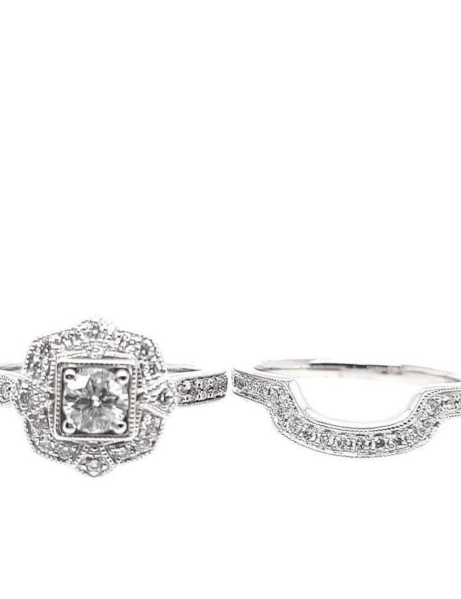Diamond (ctr-0.65ct; 0.80ctw) setting & matching band, 14k white gold