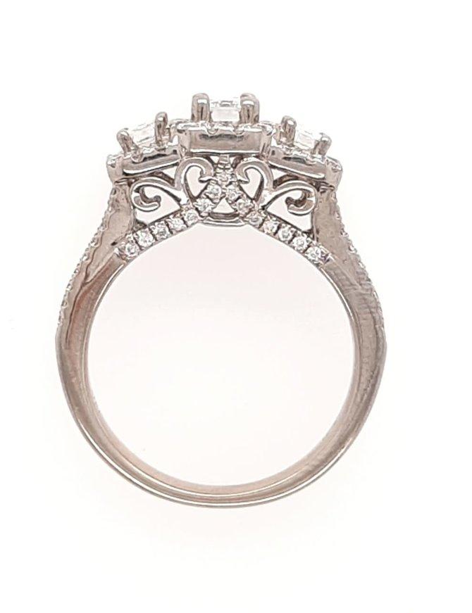 Halo 3-stone emerald cut diamond (1.25 ctw) ring, 14k white gold