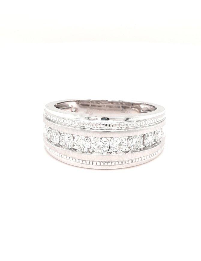 0.96ctw diamond channel set milgrain band 14k white gold