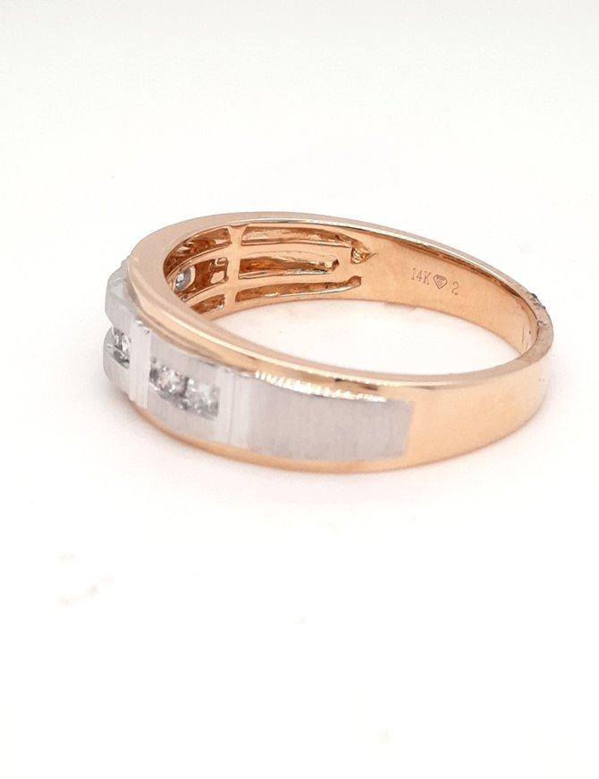 0.23ctw diamond satin center 14k white & yellow gold men's band