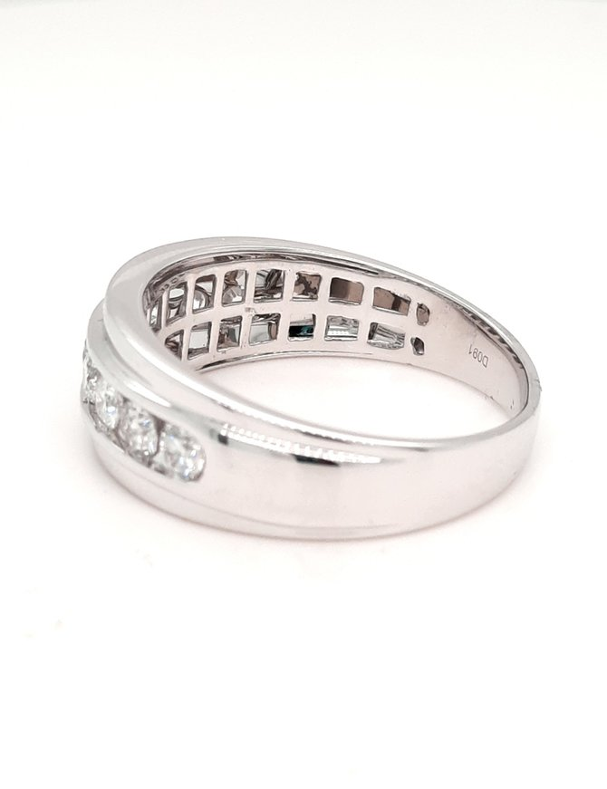0.91ctw diamond channel set mens band 14k white gold