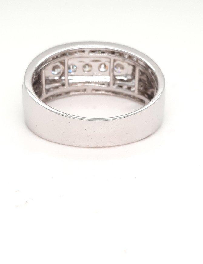 0.98ctw diamond mens band 14k white gold
