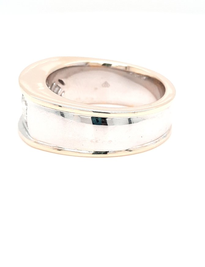1.61ctw diamond 3 stone mens band 14k white & yellow gold