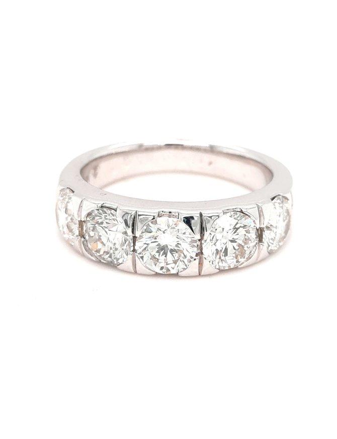 Men's diamond (2.46 ctw)  5 stone band 18k white gold
