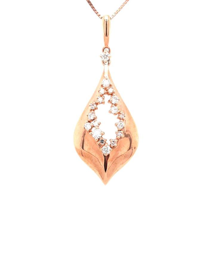 0.22ctw diamond teardrop necklace 18k rose gold