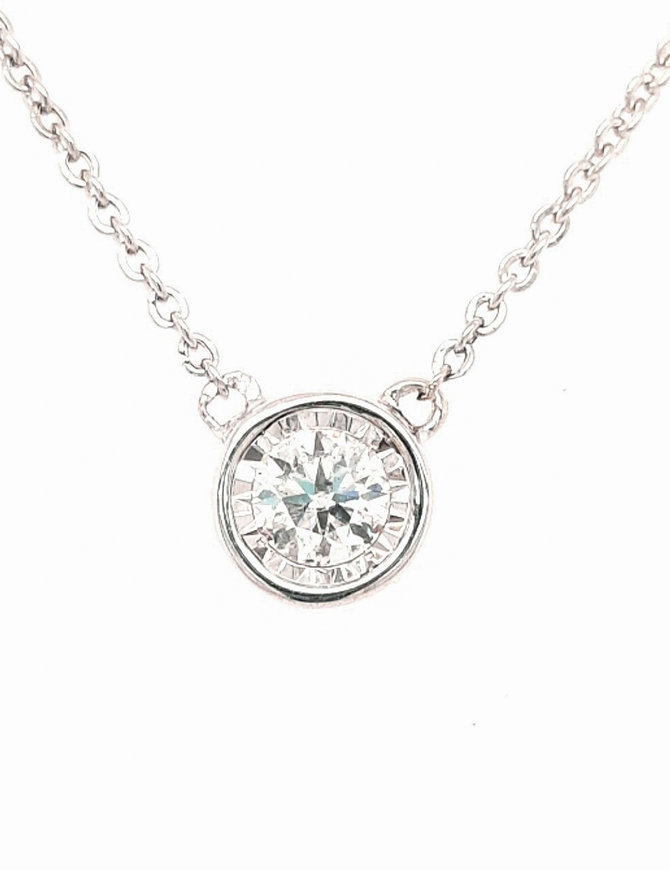 0.48ctw diamond round bezel set necklace 14k white gold