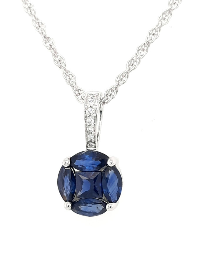 Sapphire(0.77ctw) round cluster necklace, 14k white gold