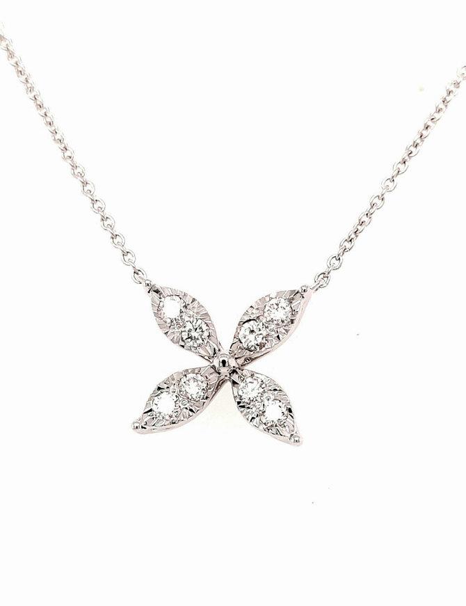 0.30ctw diamond floral necklace 14k white gold