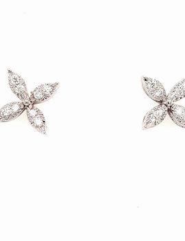 0.26ctw diamond star stud earrings 14k white gold