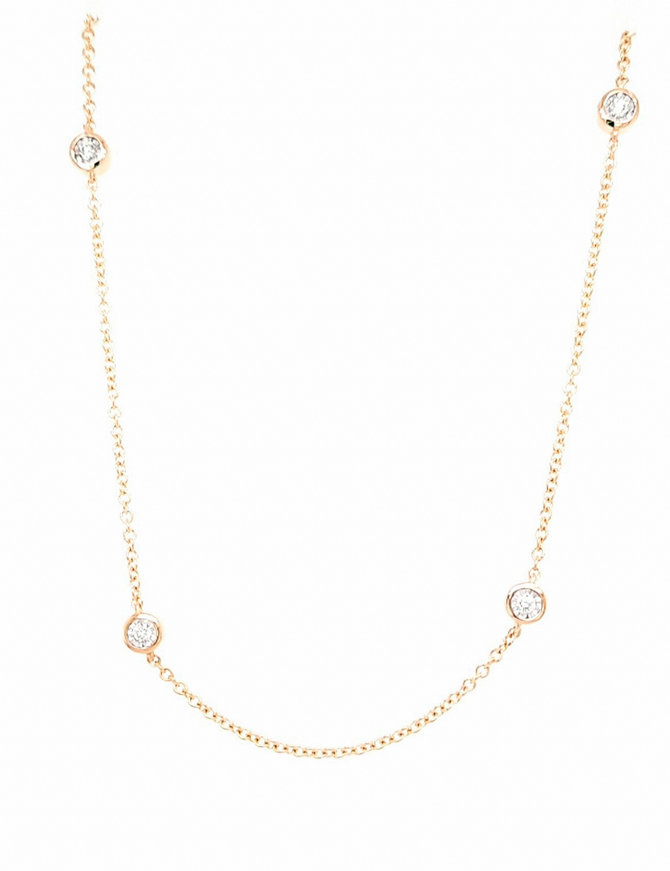 Diamond (0.50 ctw) by yard necklace, 14k yellow gold