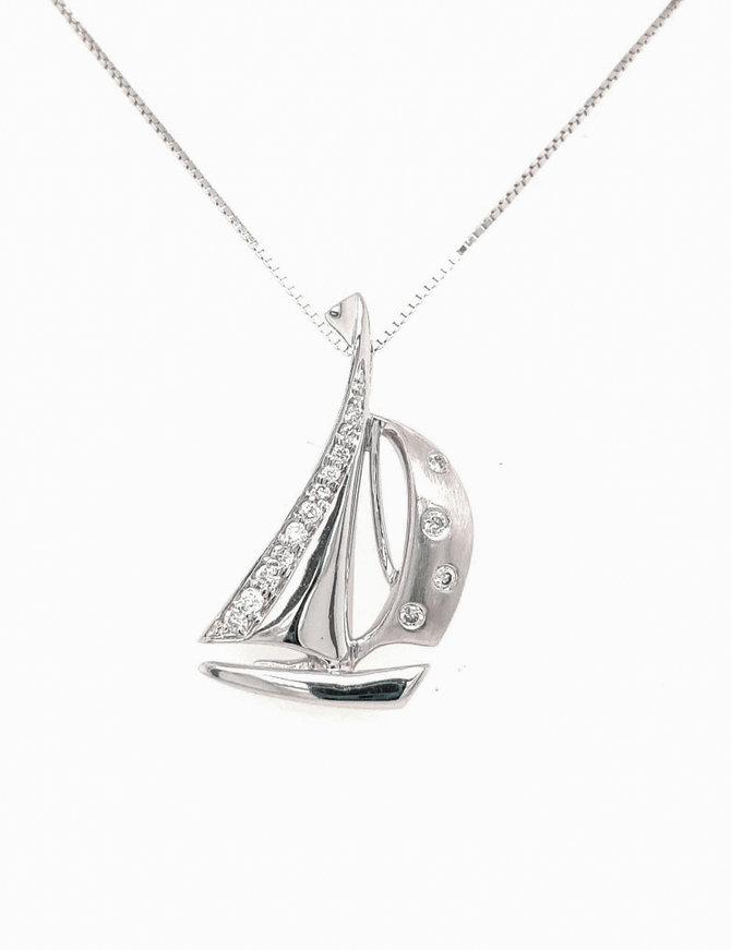 0.11ctw diamond sailboat pendant 14k white gold