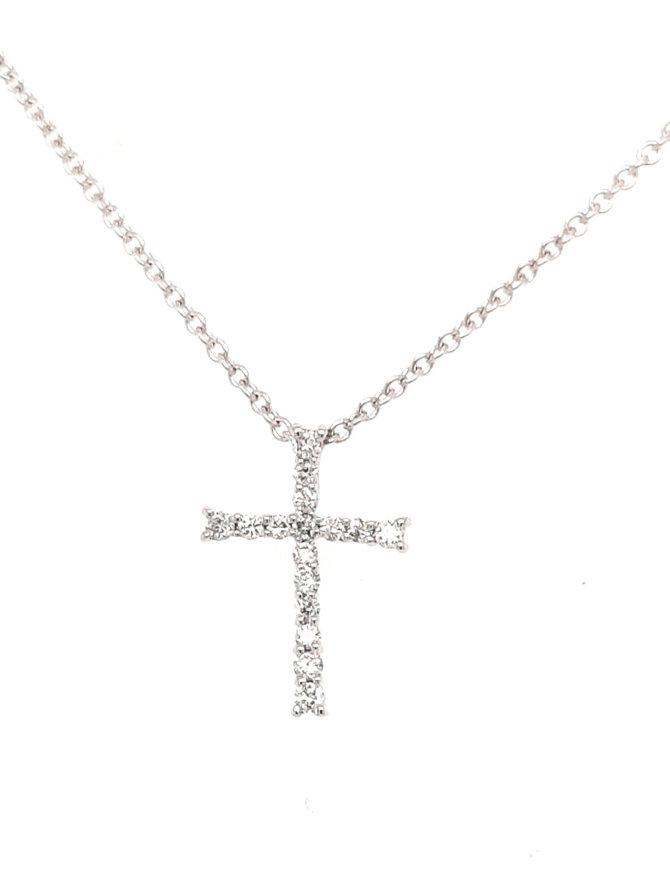 0.09ctw diamond cross pendant 14k white gold