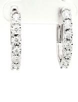 Diamond (0.50ctw) illusion set round hoop earrings, 14k white gold