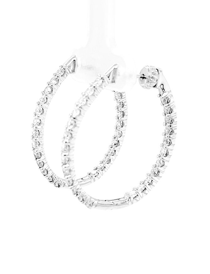 Diamond (2.00 ctw) inside/out oval hoop earrings, 14k white gold
