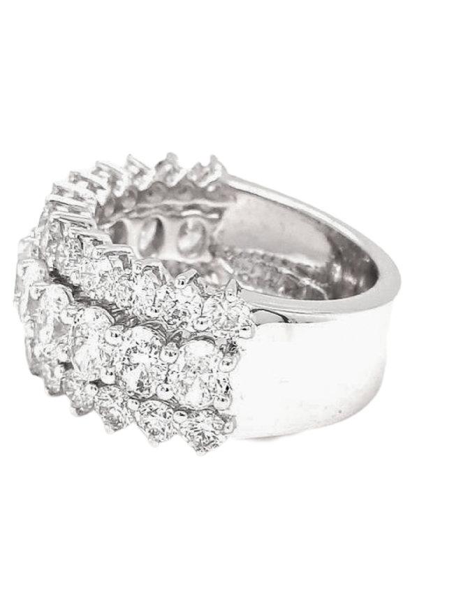 Diamond (4.11 ctw) 3-row band 14k white gold