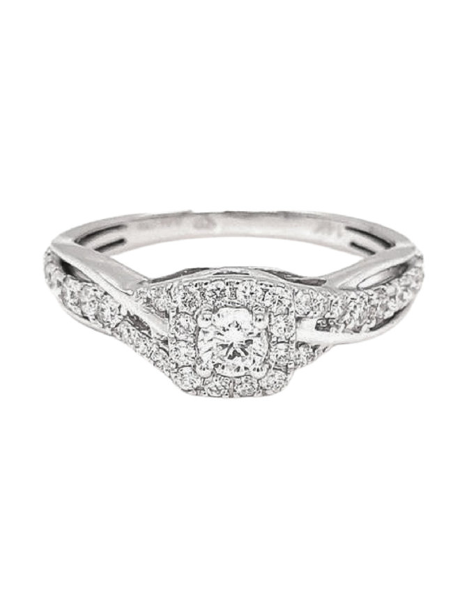 Diamond (0.54 ctw) square halo twisted band ring 14k white gold
