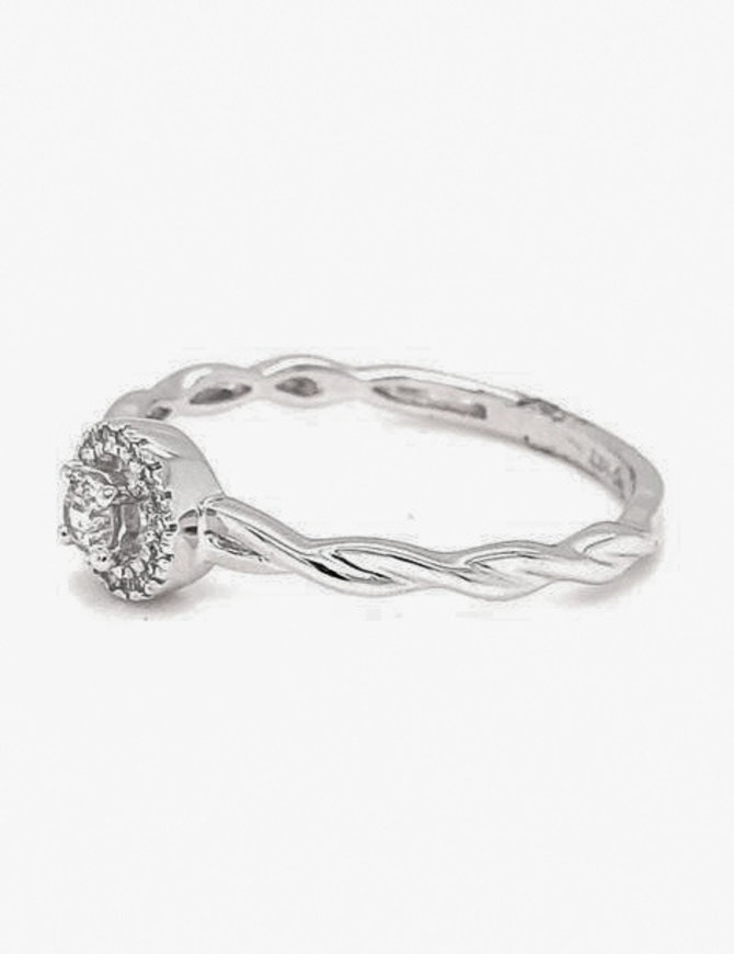 Diamond (0.13 ctw) halo with a twisted band engagement ring, 14k white gold