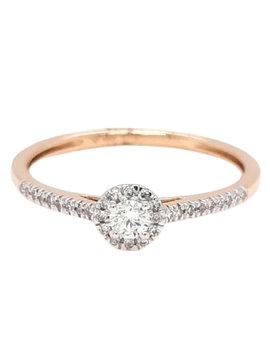 Diamond (0.20 ctw) halo engagement ring, 14k yellow gold