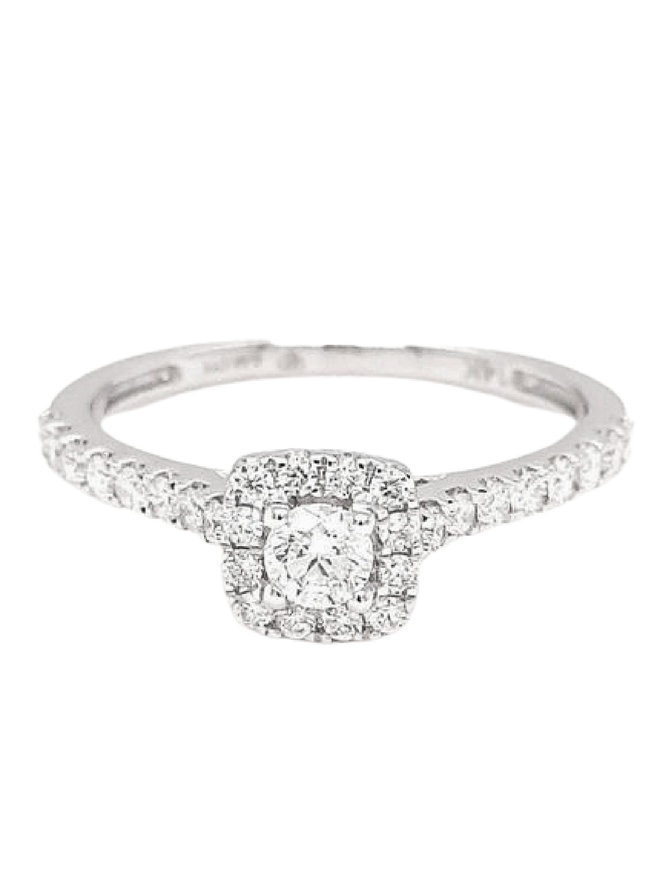Diamond (0.54 ctw) square halo ring 14k white gold