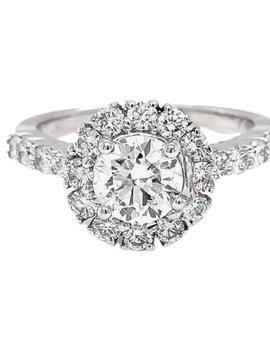 1.66ctw diamond (0.90ct ) halo bridal setting 14k white gold