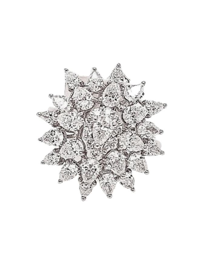 Diamond (2.71 ctw) starburst ring, 18k white gold