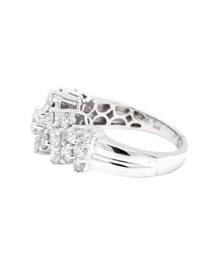 2.06ctw diamond pyramid ring 14k white gold