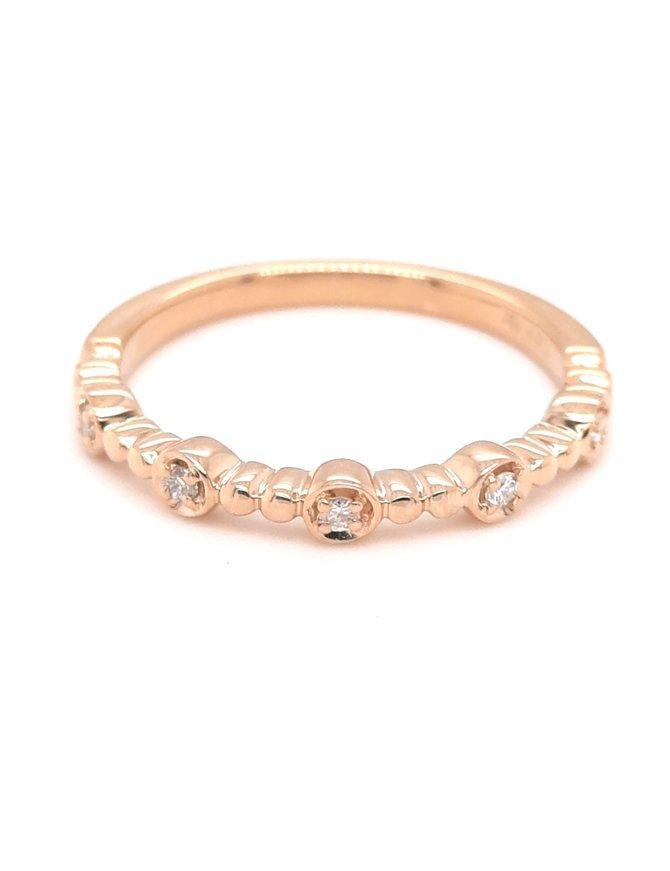 0.06ctw diamond bezel set 5 stone band 14k yellow gold