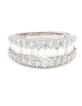 Diamond (2.00ctw) 3-row band with round & baguette 14k white gold