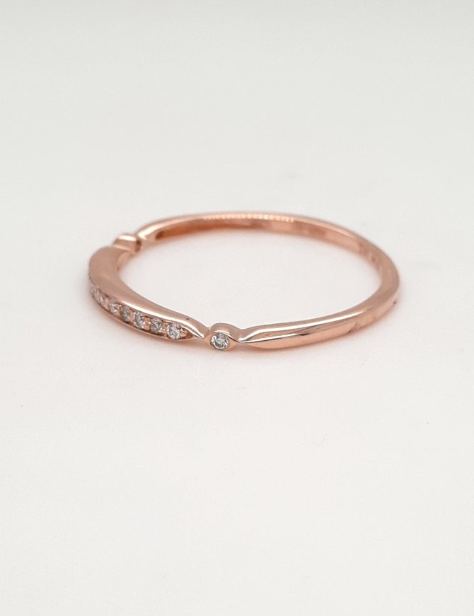 Diamond (0.07ctw) stackable band 14k rose gold
