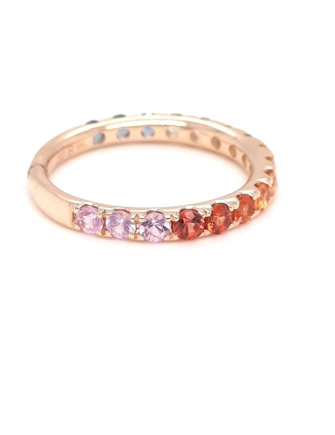 Sapphire (1.41ctw) multi color band ring 14k yellow gold