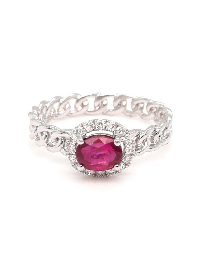 Ruby (0.80ct) & diamond (0.17ctw) halo ring 14k white gold