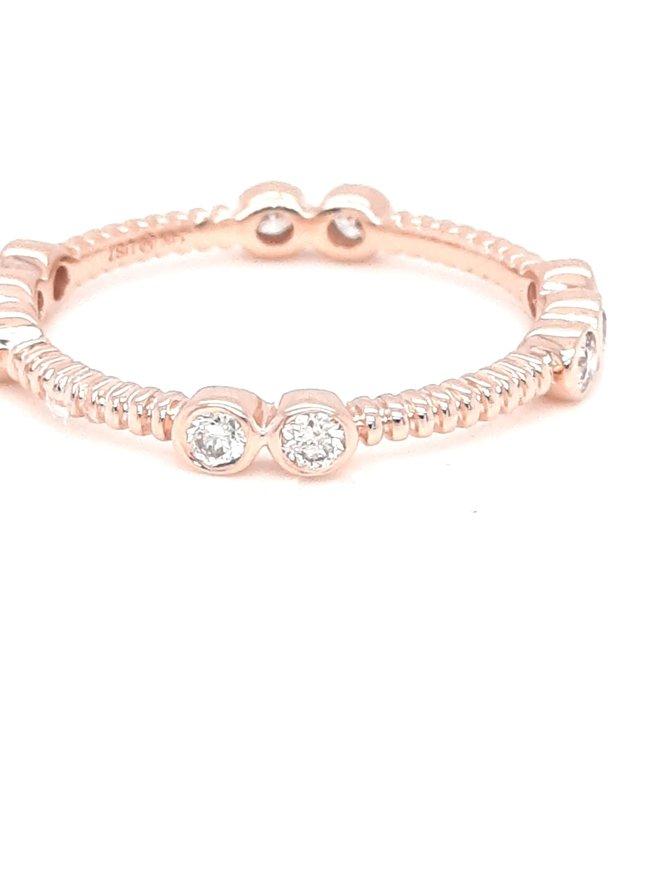 Diamond (0.35ctw) bezel set rope band 14k rose gold